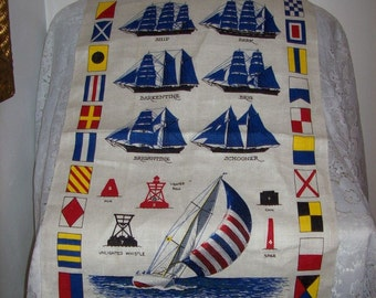 Vintage Linen Nautical Ships Kitchen Dish Tea Towel by Kay Dee NOS ONly 10 USD