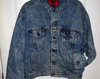 Vintage Levis Red Plaid Flannel Blanket Lined Blue Jean Jacket Medium Only 45 USD