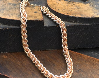 Wedding Jewelry, Tricolor Precious Metal, Rose Gold Fill, Yellow Gold Fill and Solid Sterling Silver Handmade Chain, Trinity Bracelet