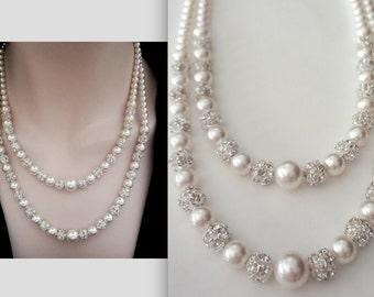 Pearl necklace ~ Brides necklace ~ 2 strand ~ Swarovski pearls, crystal rhinestones ~ Pearl Wedding necklace ~ DESTINY