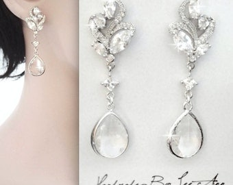 Brides earrings, Long cubic zirconia earrings, Elegant, Wedding earrings, Sparkling teardrop earrings ~ Classic ~ LILLY
