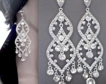 Chandelier earrings - Rhinestone earrings - Sterling Silver Posts - LONG - Brides earrings - Pageant - Brides, Statement earrings -