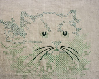 Vintage, Cross Stitch, Hand Embroidery, Kitten, Cat, Linen, Linens, Stitchery, Hand Stitched, Retro Linens, Sewing & Crafting Supplies