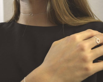 Silver Choker- Delicate Chocker- Geometric Chocker- Statement necklace- Minimal Necklace- Geometric Necklace- Brass Necklace,