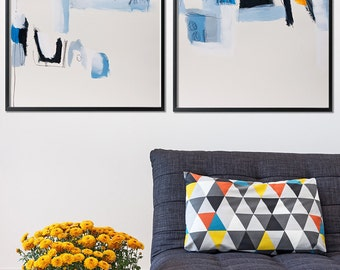 Large art print of abstract painting, Large wall art, Abstract Art, Giclee Print set mid-century modern, Blue Yellow, Geometric