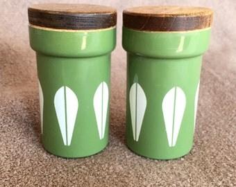 Rare Vintage Catherineholm Green Lotus Salt & Pepper Shakers