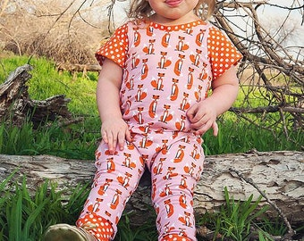 Baby romper - Fox Romper - Toddler Romper - Girl romper - Knit Fabric Romper - Baby Girl Romper - Baby Clothing - Fox Outfit - Fox Clothing