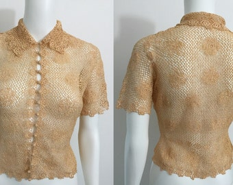 1930's Peach Crotcheted Blouse