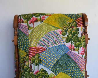 salvation armani vintage comforter - colorful farm hills - colorful countryside landscape - trees/flowers/gardens - full/double/queen