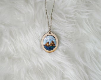 Mountain Landscape  hand embroidered necklace/hand embroidery pendant/unique necklace/ooak jewelry/gift for her/mini hoop necklace/outdoors