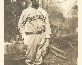 "Vintage Snapshot ""The Shortstop"" Baseball Player Amesbury Baseball Uniform Glove Cap Found Vernacular Photo"
