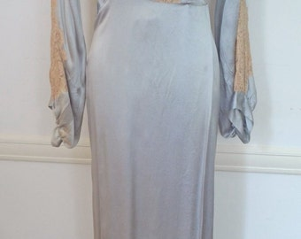 Vintage 30's French Blue Silk Charmeuse Bonwit Tellers Long Sleeve Dressing Gown With Net Lace Old Hollywood Paris