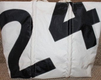 Recycled black number sail bag
