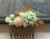 Bridal Hair Pin, Mint Green, Beige, Peach, Ivory, Wedding Hair Comb, Flowers, Gold Leaves, Hair Slide, Pearl, Bride, Bridesmaids, Gift