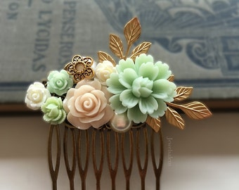 Bridal Hair Pin, Mint Green, Beige, Peach, Ivory, Wedding Hair Comb, Flowers, Gold Leaves, Hair Slide, Pearl, Bride, Bridesmaids, Gift