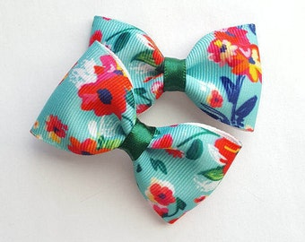 Floral print hair bows-tropical 2.5 inch tuxedo hair accesories-mint green orange yellow pink blue perfect pigtails-baby toddler big girls