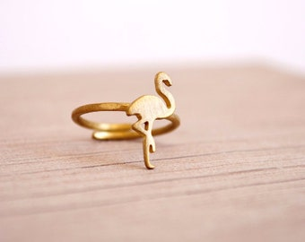 Flamingo Handmade Ring / Gifts for Women / Paradise Tropical Ring / Birthday Gift / Bahamas Bird / Mid-finger Ring / For her / Bird Ring