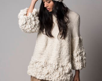Knit Chunky Sweater, Cream soft texture wrap, oversize neutral knit pullover design by Texturable