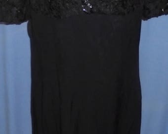 Vintage Black Dress Night Way Collection Sequin Lace 1980's 1990's Dressy Prom Date