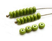 Olive green czech glass rondelle beads spacers, olivine rondel, pressed beads - 4mm - approx. 80-85pc - 2869