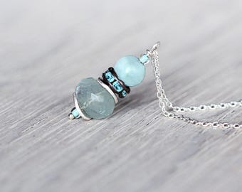 Aquamarine Pendant Necklace - Aquamarine Jewellery - Blue Crystal Necklace - March Birthstone - Dainty Necklace - Blue and Silver Necklace