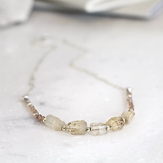 Raw Topaz Necklace - Rough Gemstone Necklace