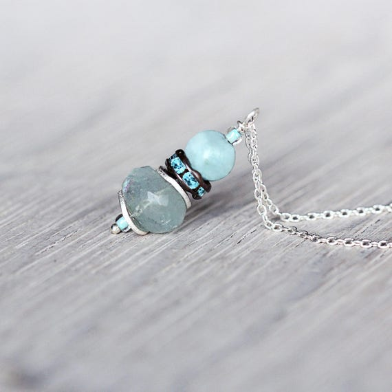 Aquamarine Pendant Necklace - March Birthstone Gift