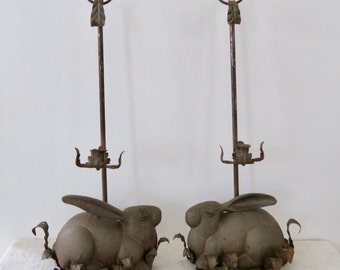 Vintage Cast Iron Bunny Rabbit Taper Candle Holders Candelabra Set of 2