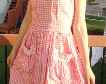 PINK GINGHAM CHECK cotton summer dress with pockets S vintage