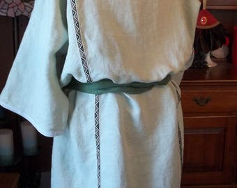 Pale Green Linen Roman Tunic (Tunica) with Beige, Dark Green, and Olive Vertical Trim