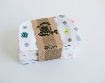 Cloth Wipes Diaper Bag Wipes  Sustainable Unpaper Napkins- Set of 20 -  Double Layer  (Buttons)