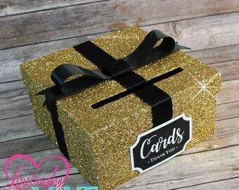 Card Box Glitter Gold, Black & White Gift Money Box for Any Event | Baby Shower | Wedding | Bridal Shower | Birthday Party | Graduation