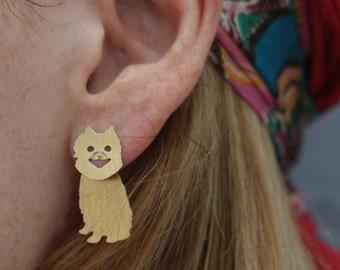 Pomeranian Earrings , Pom Earrings , Pomeranian Jewelry , Gold Dog Ear Jacket , Front Back Earrings , Dog Lovers Gift , Dog Stud Earrings