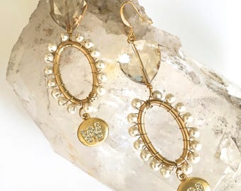 W- Wedding, Wife, Wonderful Woman Earrings, Sparkling 'Retro/ Antique' Crystal Dangle Earrings