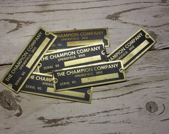 Price PER Tag Antique Industrial Tag The Champion Company Springfield Ohio Machinery Badge Brass Vintage Metal Jewelry Craft Badge Supply