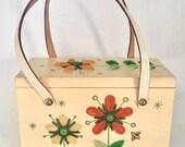 Vintage 1960s Enid Collins Les Fleurs Small Wood Box Purse