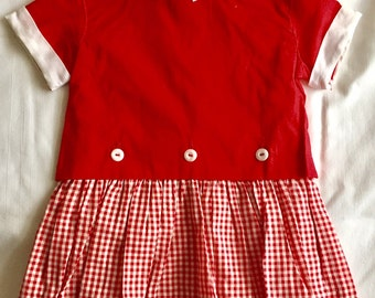 Vintage 1950s 60s Toddler Girls' Red Gingham Dress and Overblouse Set 3T 3