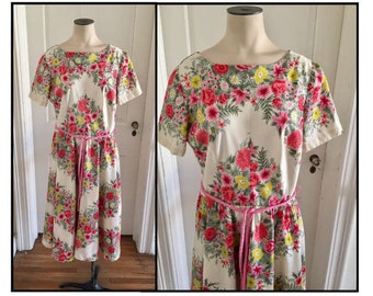 Vintage 1960s Misses' Sir Rob Cotton Day Dress Pink Yellow Floral 4 6