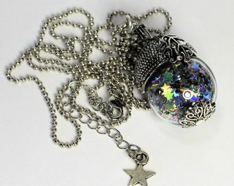 Peter Pan Acorn Necklace With Pixie Dust Glass Ball Second Star Right