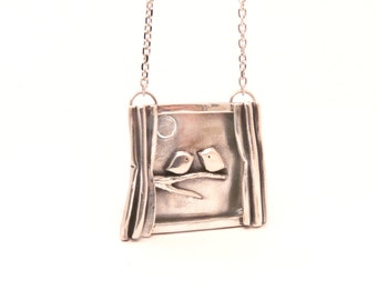 Silver Lovebirds Through the Window Necklace - One of a Kind