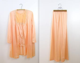 Peach Sorbet 3 Piece Pajama Set - Vintage 1970s Van Raalte Lingerie in Medium Large