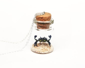 Crab Necklace; animal bottle mermaid necklace - miniature shore crab, nautical 2cm glass bottle necklace, 16inch chain British Coast