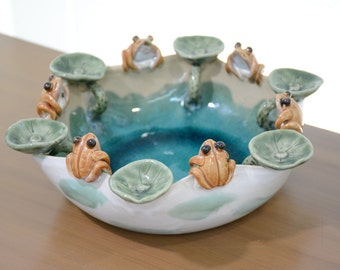 Majolica Whimsical Frog Lilly Pad Pottery Bowl