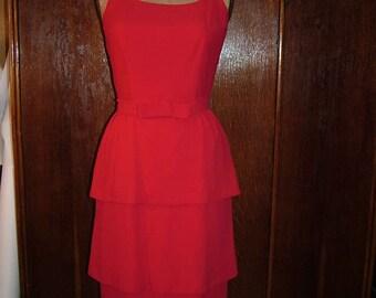 Vintage 1950s Lipstick Red Rayon Crepe Three Tier Peplum Dress Size Medium