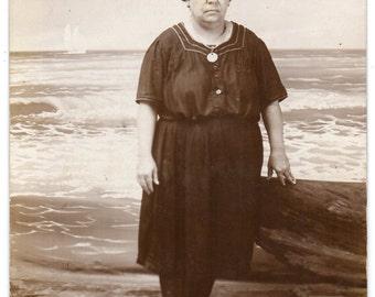 Galveston Beach Bathing Beauty Real Photo Postcard Murdoch Bath House Woman In Swimsuit Beachwear Texas Vintage Fashion Photograph