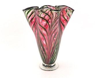 Hand Blown Art Glass Vase in Pink