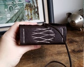 Extra Chunky Leather Journal, Dark Brown Hand-Bound 3 x 4.5 Journal by The Orange Windmill on Etsy 1717