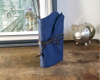 Leather Journal, Dark Blue, Hand-Bound 3 x 4.5 Journal by The Orange Windmill on Etsy 1697