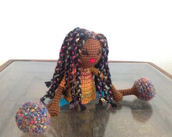 READY TO SHIP Crochet African American Doll with Braids, in orange, red, blue, Plush Natural Black Brown Hair Stuffed Toy Baby Girl Gift