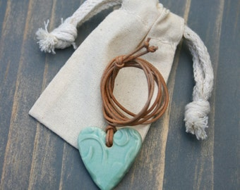 heart pendant, ceramic jewelry, heart necklace, turquoise heart, pottery pendant, love heart, gift idea, porcelain pendant, boho jewelry,